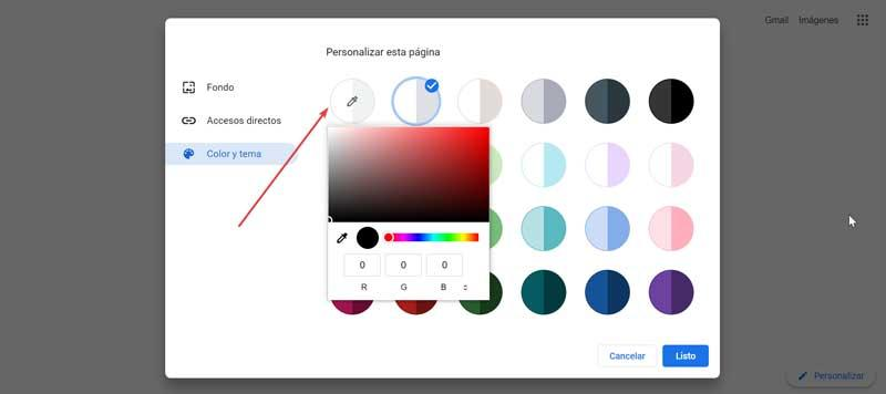 Chrome customize background color
