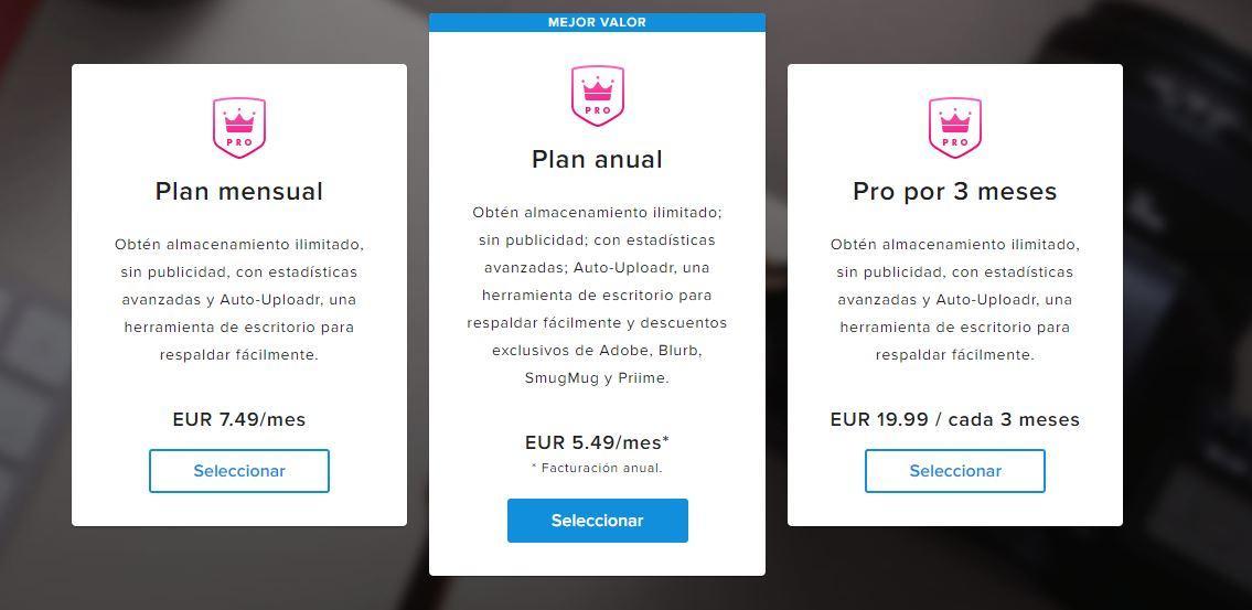 Flickr pricing