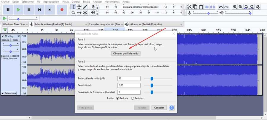 Audacity get noise profile