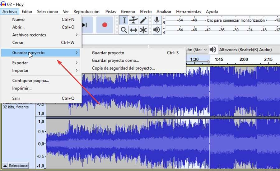 Audacity save project as
