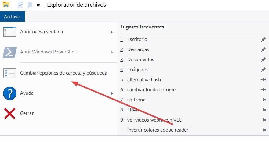 Change file and folder options