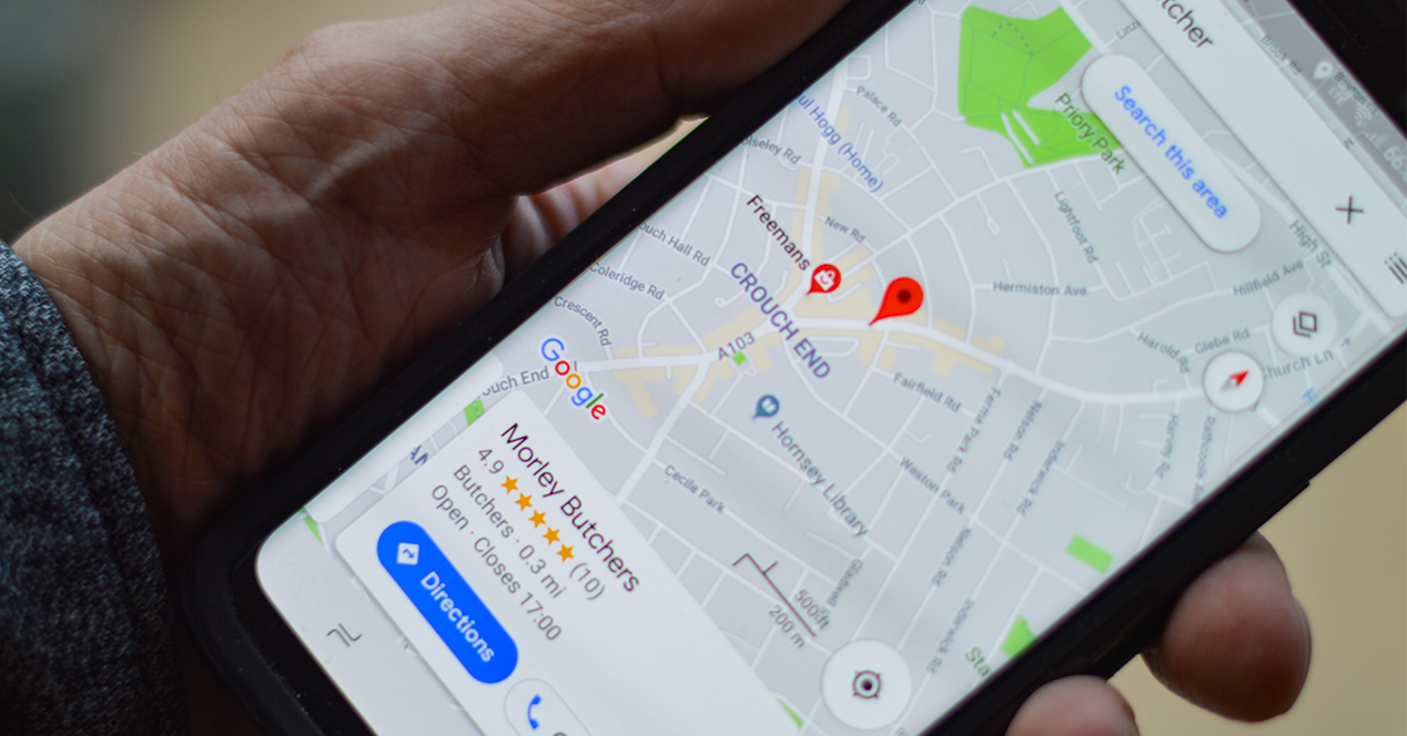smartphone that looks like a location marked on Google Maps