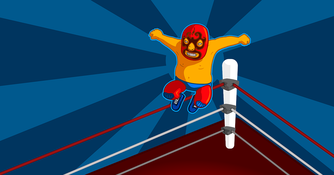 Illustration in which a wrestling wrestler appears