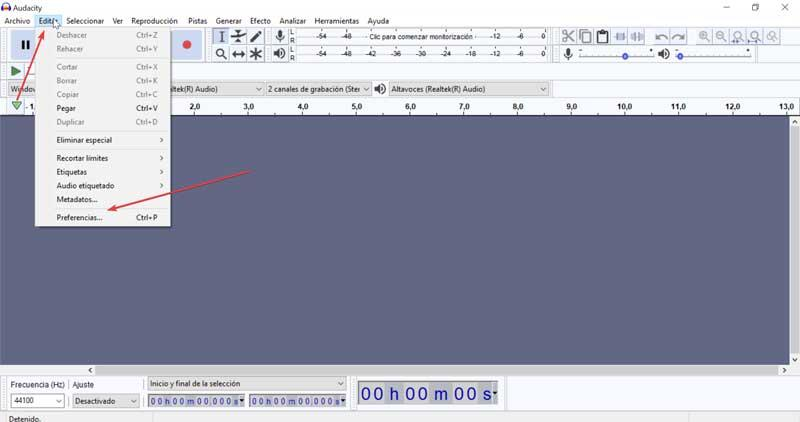 Audacity Edit and Preferences