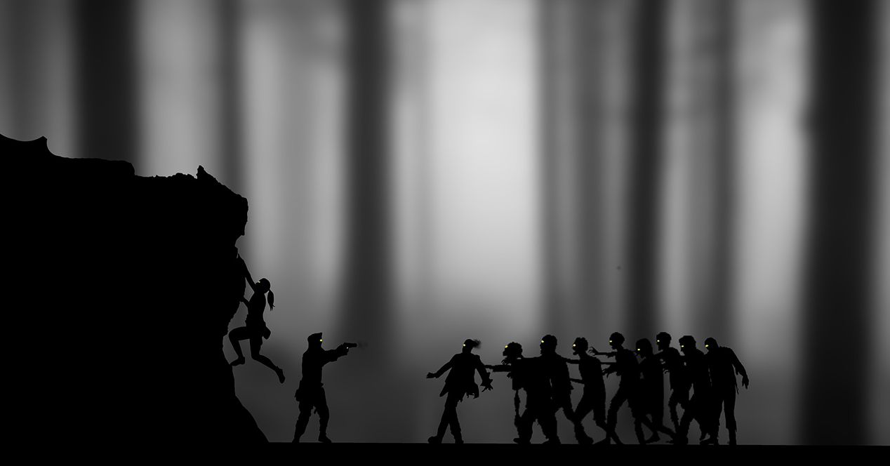Silhouette of a group of zombies chasing a gunman