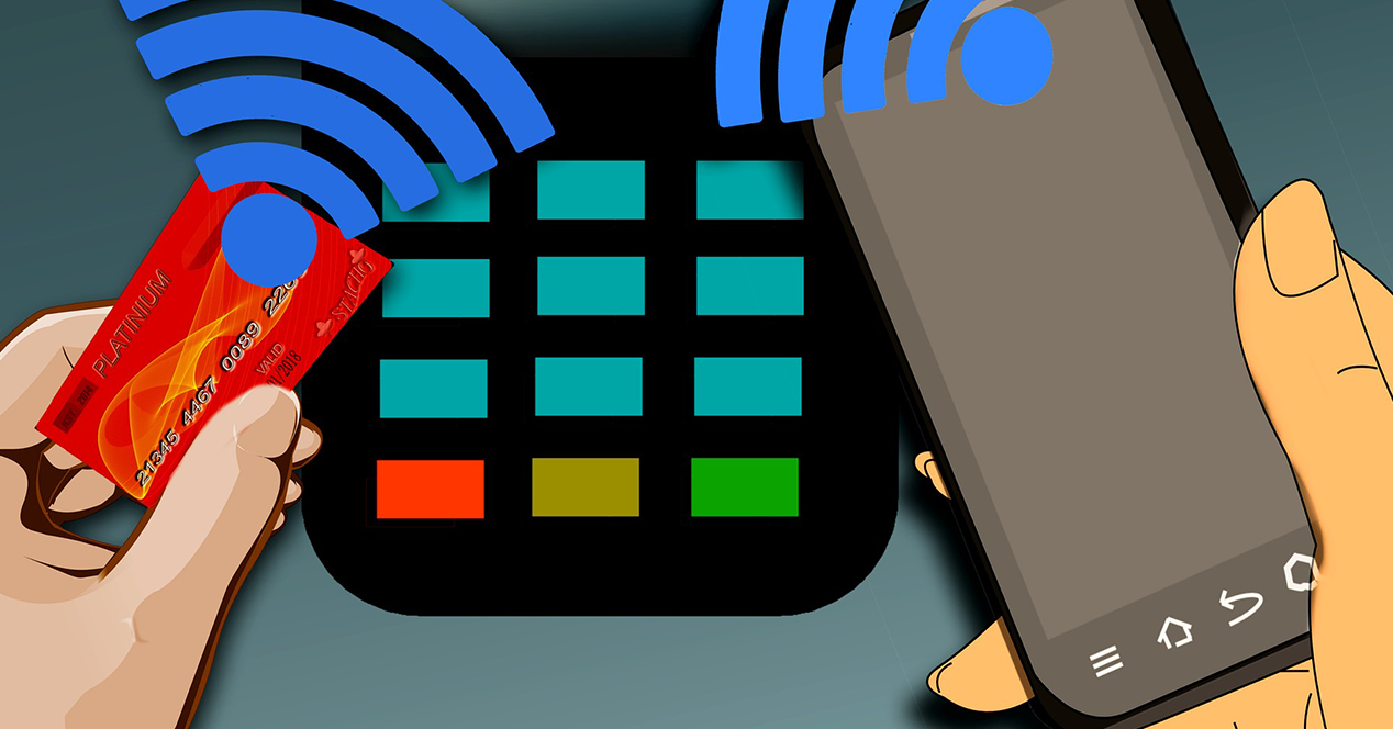 Illustration showing a mobile phone and a credit card paying on a dataphone