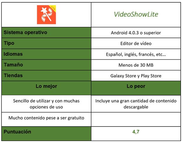 VideoShowLite application table