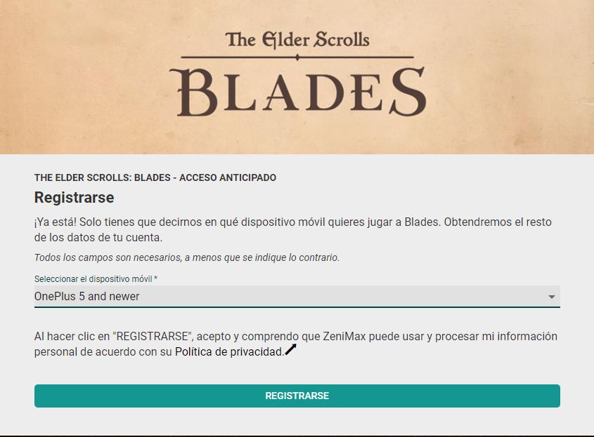 The Elder Scrolls Blades registration