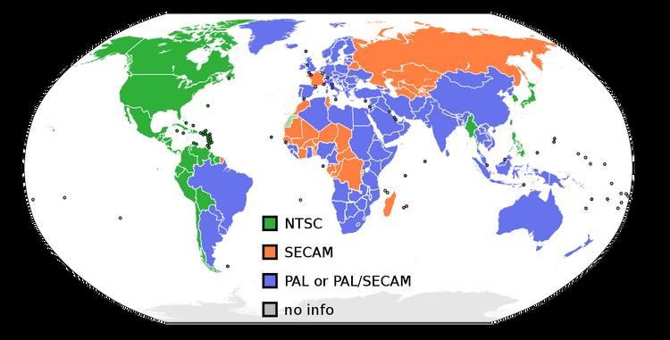 NTSC and PAL map