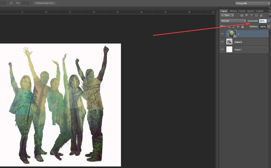 Double exposure with Photoshop change opacity