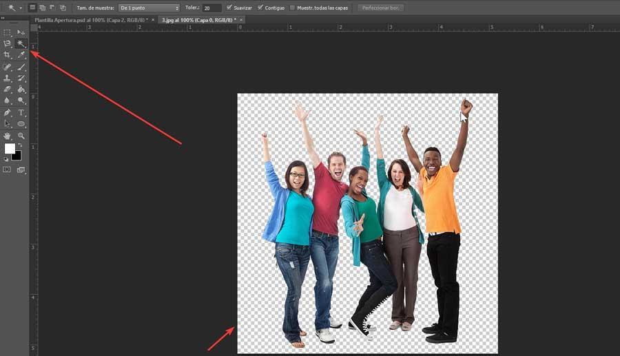 Photoshop apply magic wand on white background