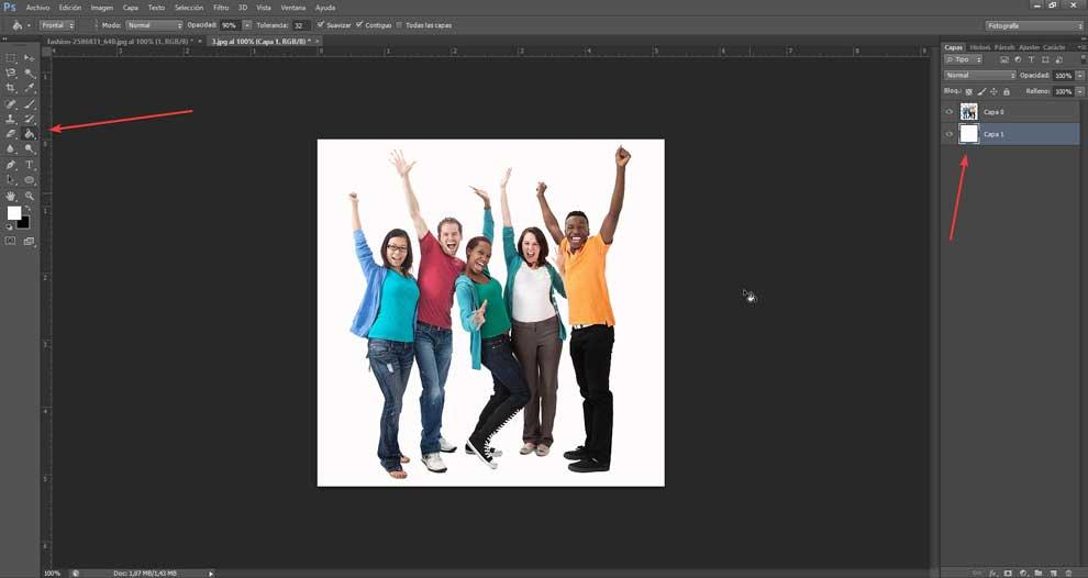 Add new layer with white background
