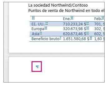 tables at the end of the page in word